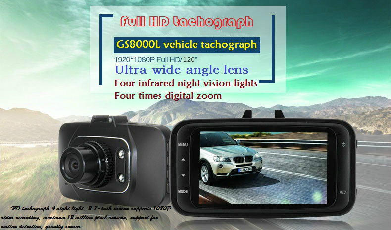 GS8000L Car driving recorder / 2.7-inch large-screen high-definition night vision 1080P video tachograph(China (Mainland))