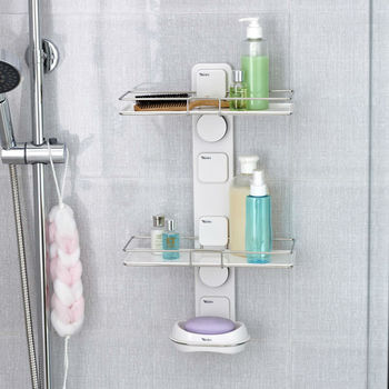 Hot sale !  Bathroom DIY wall Suction Cup shelving double bathroom shelf and Soap Dish holder Bathroom Accessories,Free Shipping