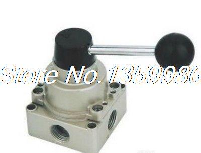 "1pcs HV-02 4 way 3 position 1/4"" BSPT Pneumatic Hand Lever Valve Center Closed(China (Mainland))"