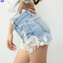Lace Shorts Women Hot Short 2015 Fashion Ripped Jeans Womens Lace Crochet Denim Shorts Women Plus Size Sexy Lady Jeans Trousers