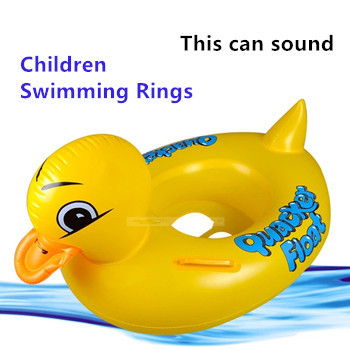 Hot sale yellow duck children swimming rings baby swim ring bathing beach toys inflatable pool toys(China (Mainland))