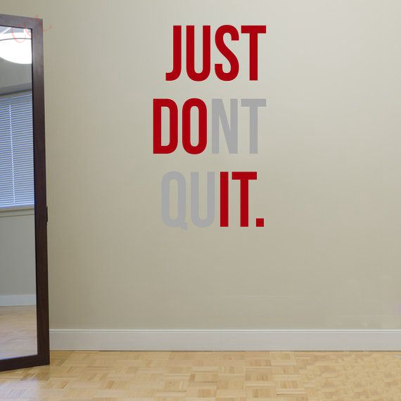 """JUST DONT QUIT"" Gym Workout Motivation Quote Words Vinyl Wall Art Sticker Wallpaper Mural Home Decoration JUST DO IT(China (Mainland))"