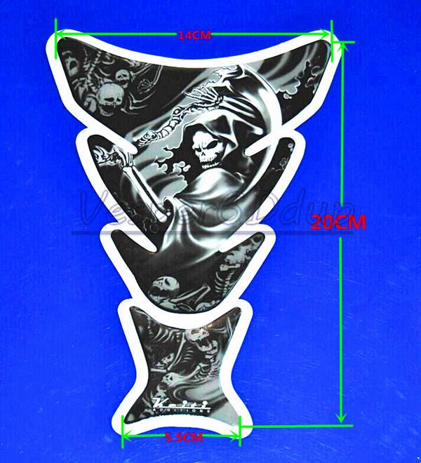 Free Shipping Motorcycle Skull Tank Pad Protector Stickers Decales For Honda Yamaha Suzuki Kawasaki Ducati Harley(China (Mainland))