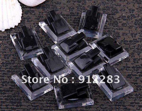 Free shipping 50pcs Black & Clear Acylic Ring Jewelry Display Showcase Stand Holder,Jewelry Displays(China (Mainland))