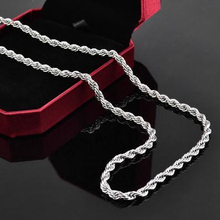 "FSN067 Men's 925 Sterling Silver Necklace Twisted Rope Chain 4mm 16-24"" Wholesale 925 Silver Jewelry(China (Mainland))"
