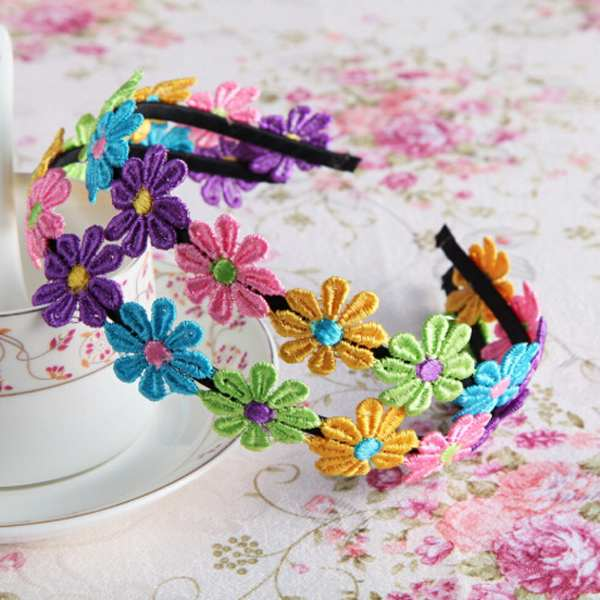 1PCS Wholesale Kids Children's Baby Girl Hair Accessories Colorful Fabri Flower Hair Head Band Bow Accessories Free Shipping(China (Mainland))