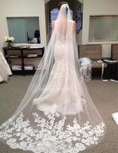 2015 Cheap 300CM White Long Bridal Veils Lace Edge 3M White Long One Layer Lace Edge Wedding Veils 2015(China (Mainland))