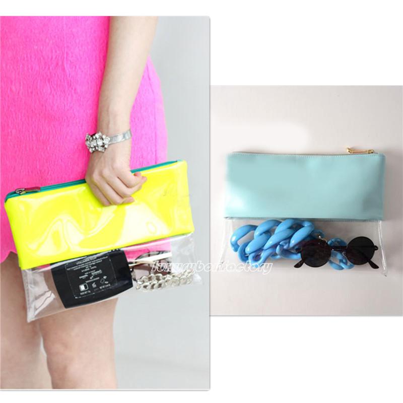 Designer Brand Clear Bag Neon Hologram Two Tone Transparent Clutch Handbag Purse(China (Mainland))
