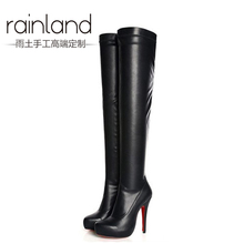 2013 knee-length boots female high-heeled boots elastic platform boots(China (Mainland))