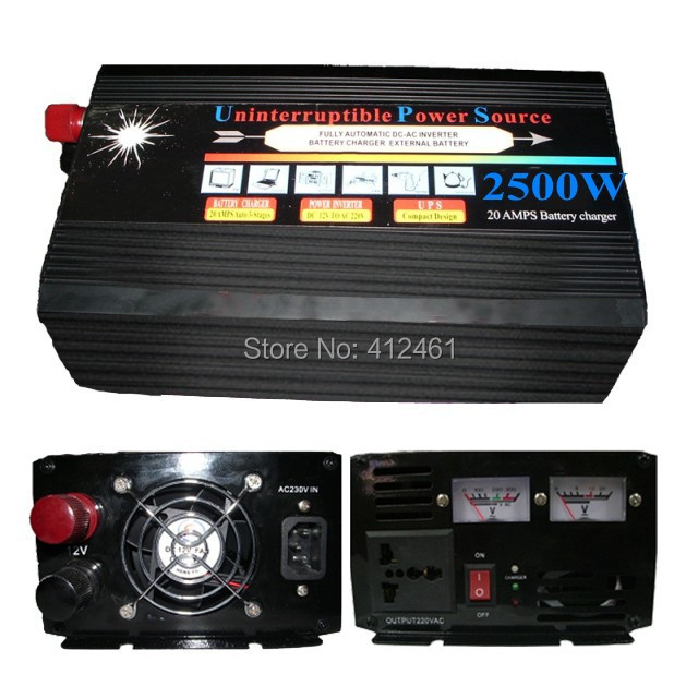 Free DHL Shipping dc to ac UPS inverter with charger 12v 220v dc to ac power inverter 2500watt(China (Mainland))
