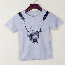Gray Children t shirts Clothes Cotton Boys T Shirts Camera Style t-shirts Kids Short Sleeve Baby Children's Clothing
