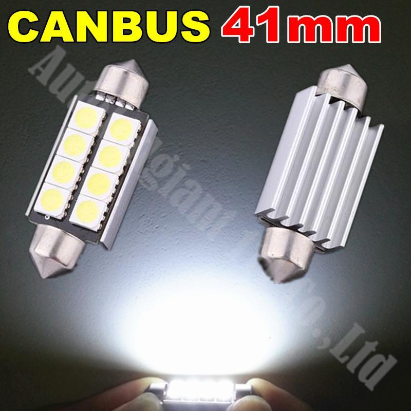 2x CANBUS 42mm 41mm Led Festoon 5050 SMD 8LED Car Light SV8,5 264 C5W Led 12V Footwell Number Plate Interior Light White(China (Mainland))