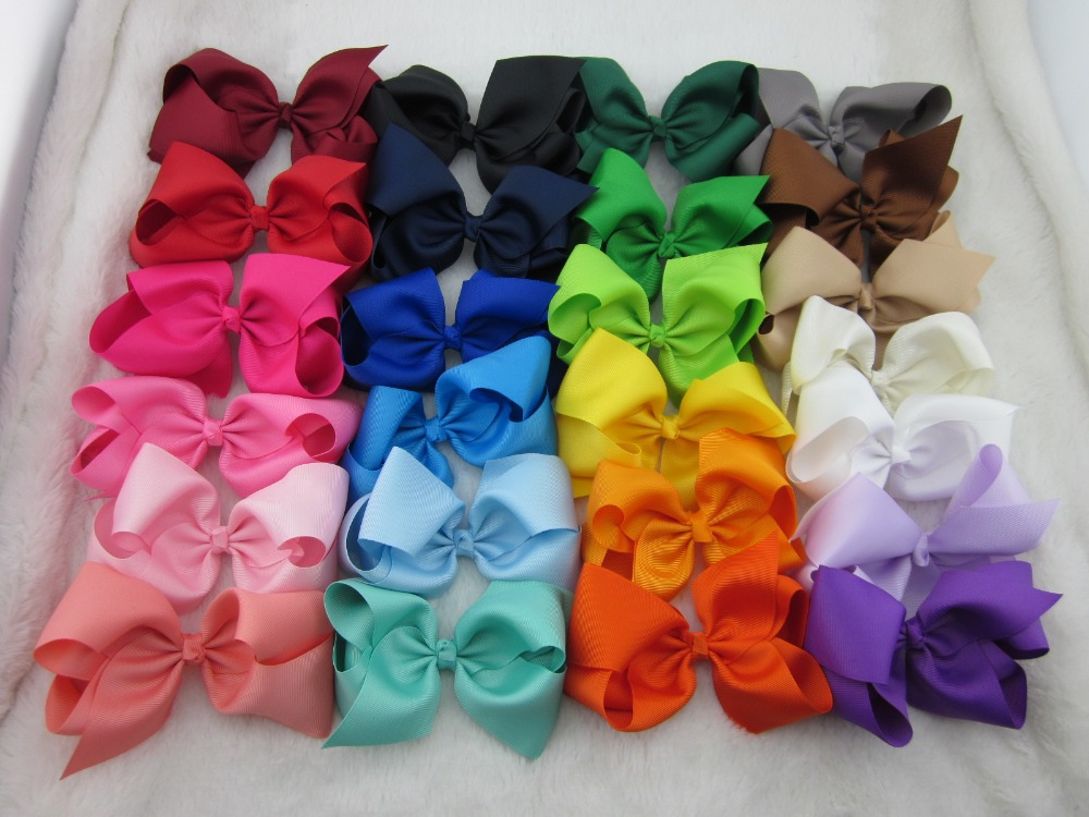 Hot 5inch high quality grosgrain ribbon baby boutique hair bows WITH CLIP for children hair accessories 75pcs/lot free shipping(China (Mainland))