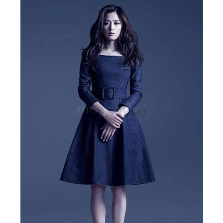 Hot Selling Women Denim Dress Fashion Long Sleeve Knee-Length Dress Autumn Blue Slim Jeans Dress 18(China (Mainland))