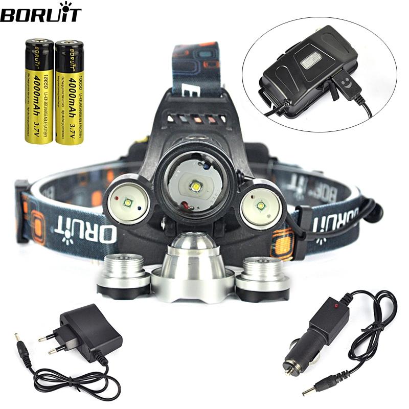 Boruit RJ-5000 Headlamp XML T6 8000 Lumens 4 Mode LED Headlight Led USB Power bank Rechargeable Hunting Head Light 18650 Charger(China (Mainland))