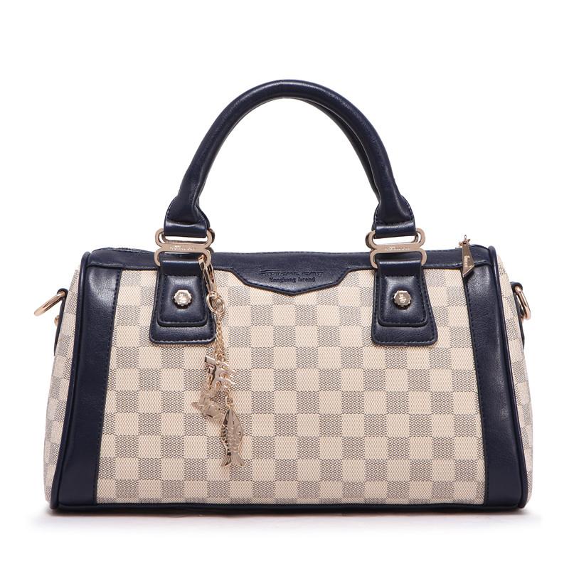 Women Plaid Handbags Female Bag Women's Handbags Boston Bag Medium Sized Shoulder Bags Bolsas 1217(China (Mainland))