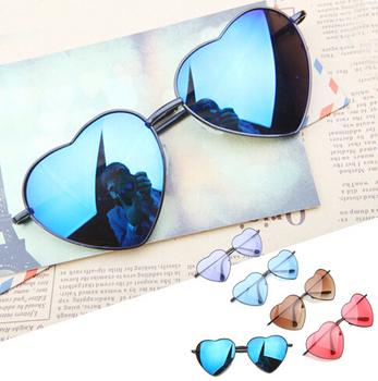 В форме сердца очки женщин металлические отражающие LENES мода солнцезащитные очки мужчины спорт зеркало óculos de sol новые