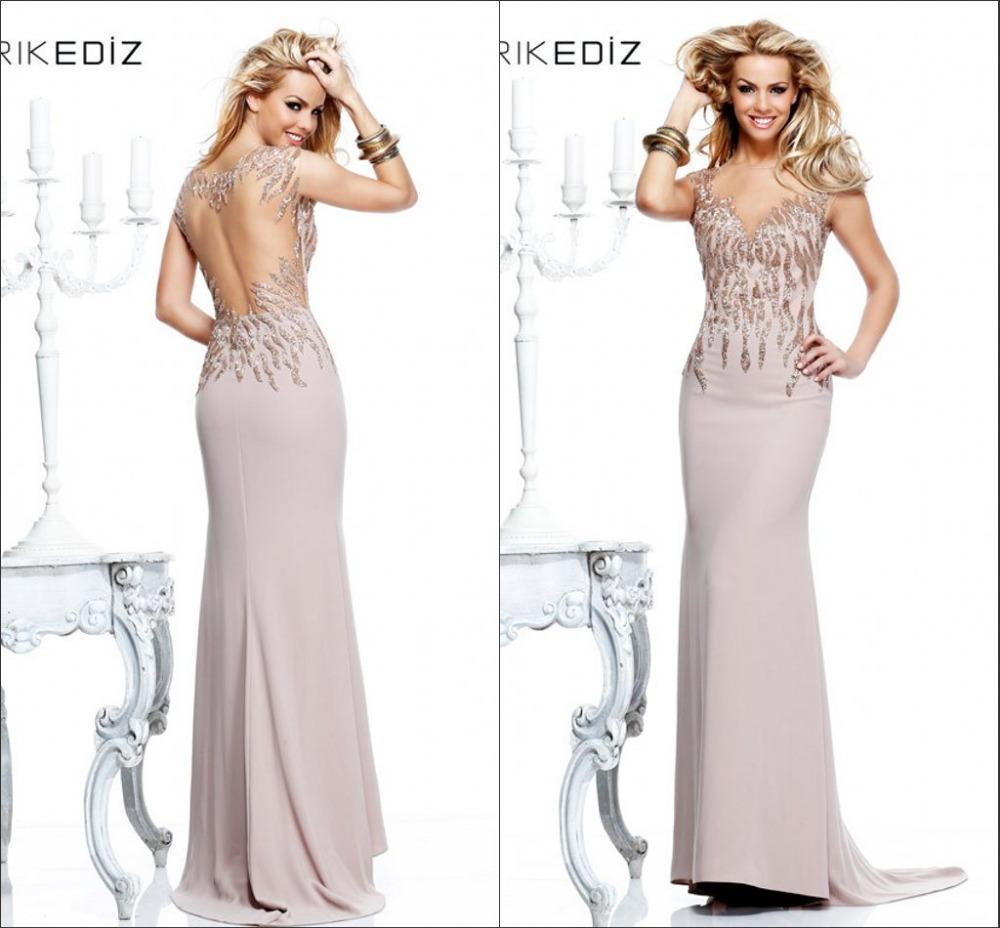 Evening Gowns 2014 V-neckline Sheath Floor-Length Sequins Appliques See Open Back Long Dress Prom - Fashion Dresses Elements store