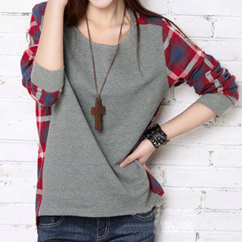 Гаджет  2015 fall clothing new arrival Korean women loose stitching plaid long-sleeved round neck T-shirt  free shipping  G272 None Одежда и аксессуары