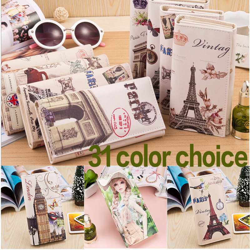 New 2015 Women's Wallets 31 Color Choice Cute Lady Purse Fashion Design Clutch Wallet Money Bag Female Card Holder Vintage Bag(China (Mainland))