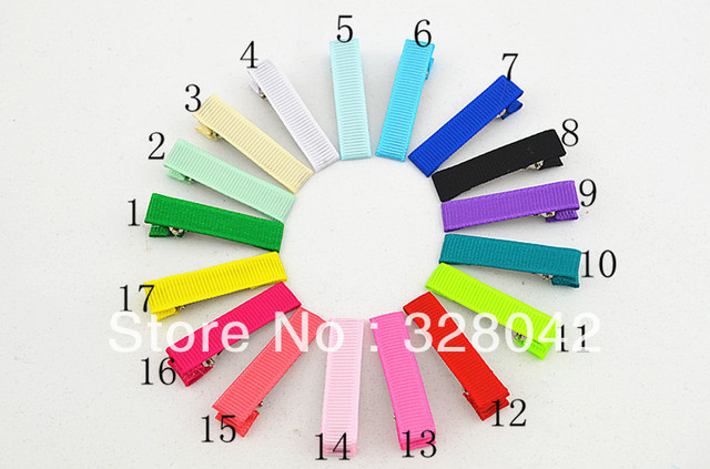 Trail order 17 colors Grosgrain Ribbon Crocodile Clips 4cm Duck Clips girl DIY Christmas gift hairpin hair accesories 200pcs/lot