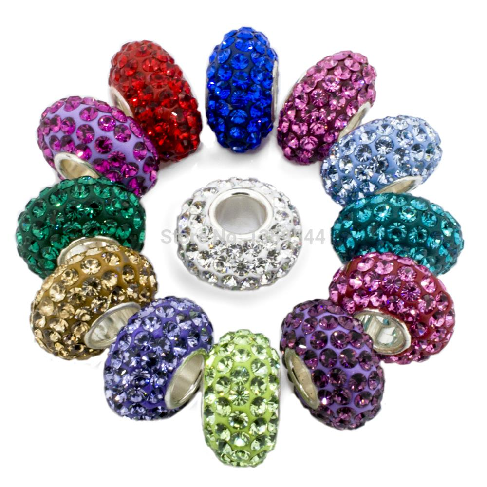 Birthstone 100 925 sterling silver charm bead fits for Birthstone beads for jewelry making