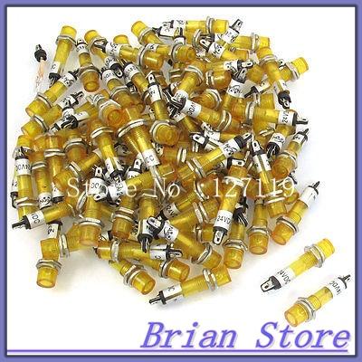 100 x 6.5mm Hole 2 Pins Yellow Illuminated Light Signal Indicator Lamp DC 24V<br><br>Aliexpress