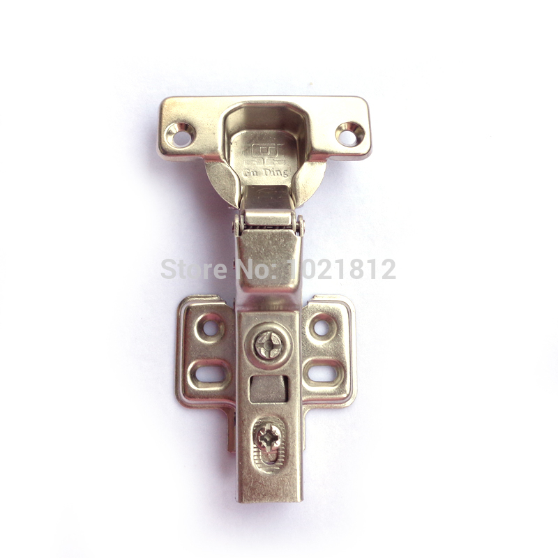1 Pair Half overlay Hydraulic Cabinet Hinge Soft Close Brass Buffering Fixed Base(China (Mainland))