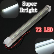 Brand New 12V Universal Car Auto Caravan Interior 72 LED White Light Strip Bar 340MM Lamp ON/OFF Switch(China (Mainland))