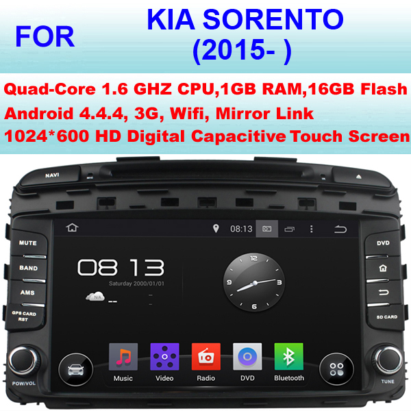 Quad Core Android 4.4.4 Car Radio GPS for 9 Inch Kia Sorento Car DVD Player (2015- )2016 Stereo Pixel 1024*600 Support WiFi 3G(China (Mainland))
