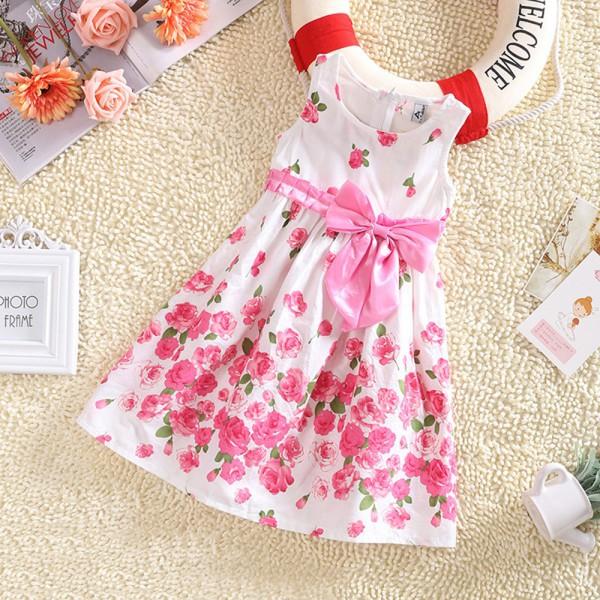 Kids Baby Girls Sleeveless Floral Bow Party Dress Sundress Children Princess Costume Dresses 2015(China (Mainland))