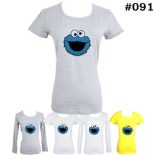 Cute Funny Blue COOKIE MONSTER  Pattern Short Long Sleeves T-Shirt Women's Girl's Graphic Tees Tops Tshirt