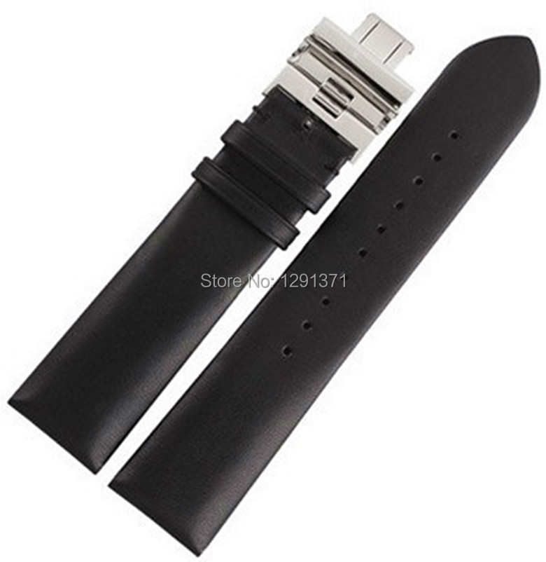 Black Watch Bands,Soft Flat Smooth Genuine Leather,Stainless Steel Buckle,Watch Bracelet,Strap BB0030