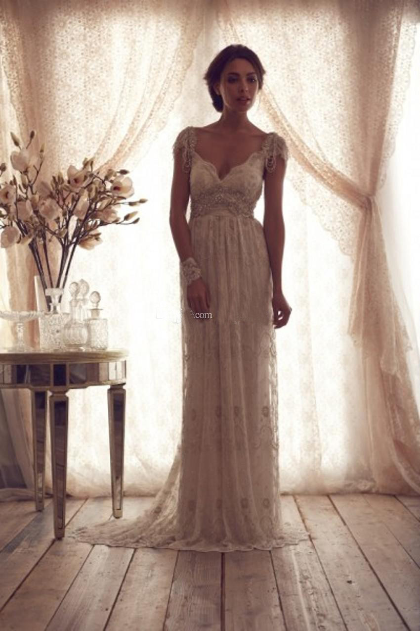 High Quality 2014 Vintage Wedding Dresses Sheer Anna Campbell Lace Bridal Gowns Lace Backless Church Wedding Custom(China (Mainland))