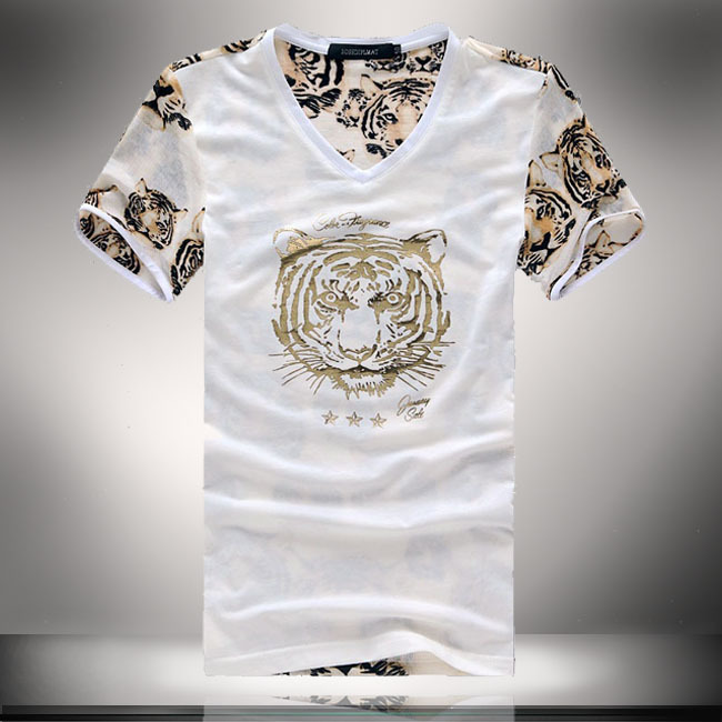 SMALL SIZE Tiger Print Mens Tshirt Mesh Tee Shirt Fashion 2015 Graphic Tees Summer Style Men T shirt Black Brand Men Clothes (China (Mainland))