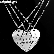 Buy XIAOJINGLING 2017 Fashion BEST FRIENDS FOREVER Necklace 3 Pieces Broken Heart Pendants&Necklaces Silver Link Chain Necklace BBF for $2.88 in AliExpress store