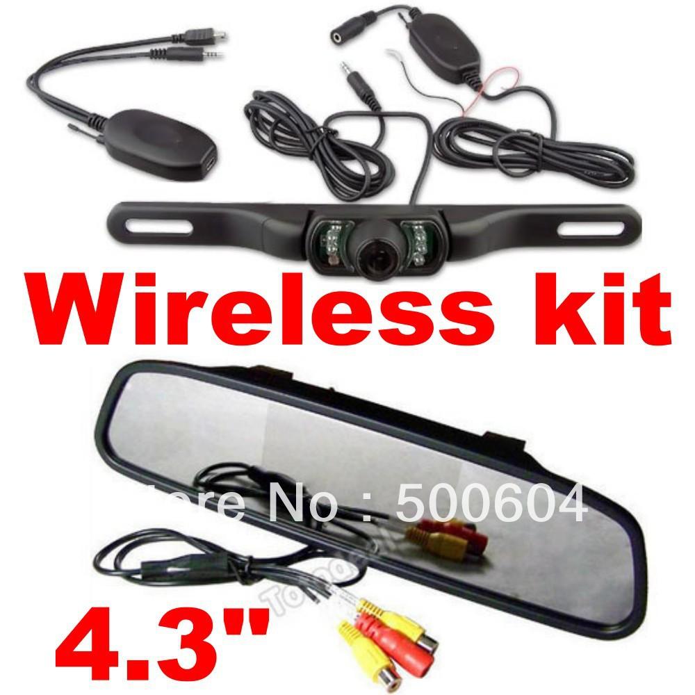 "2013 Wireless rear view camera with Monitor Car kit Waterproof Night vision Rearview cam +4.3"" Mirror Monitor for Reverse backup(Hong Kong)"