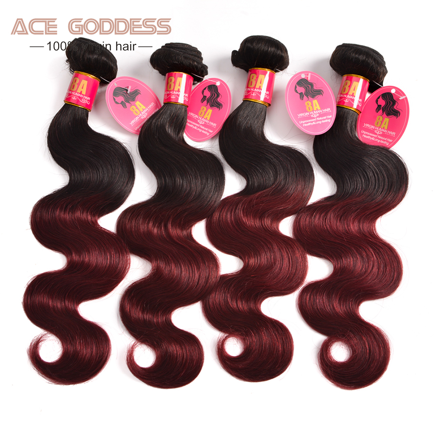 Ombre Brazilian Hair 1b/#99j Brazilian Virgin Hair Body Wave 4 bundles Ombre Brazilian Body Wave Ombre Human Hair Bundles
