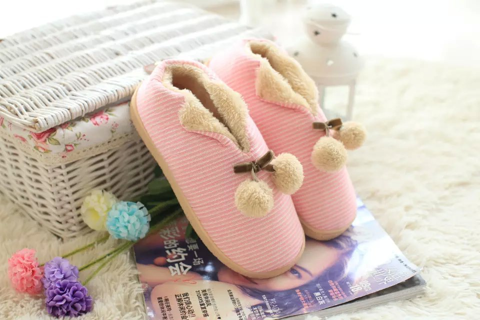 Free Shipping House Shoes Knit Indoor Slippers For Women(China (Mainland))