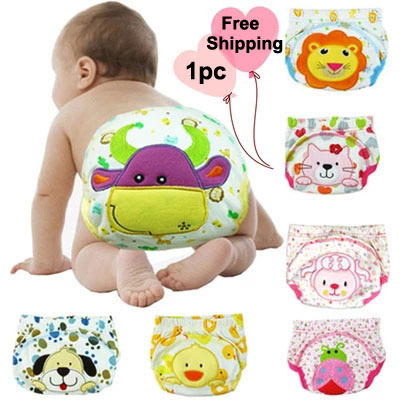 1PC Cotton Baby Reusable Diapers Washable Bulk Cloth Diaper Cover For Children Baby Nappies Baby Swim Nappy Training Pants 3Size(China (Mainland))