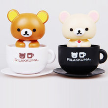 Solar Energy Dancing Toys Rilakkuma Solar Toy Bobble Head Cup Figure Car Styling Decoration Cute Model Gift For Fans And Friends(China (Mainland))