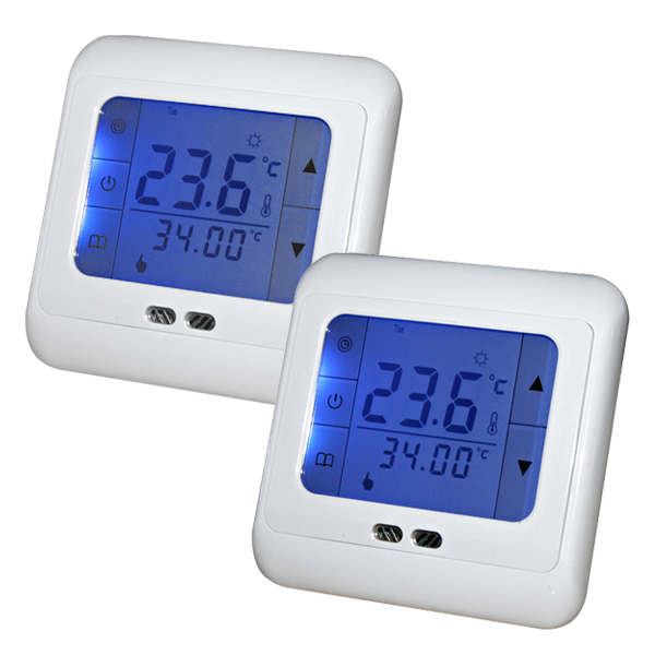 Гаджет  2 Pieces Weekly Programmable Touch Screen Floor Heating Thermostat Room Temperature Controller Thermometer With Blue Backlight None Строительство и Недвижимость