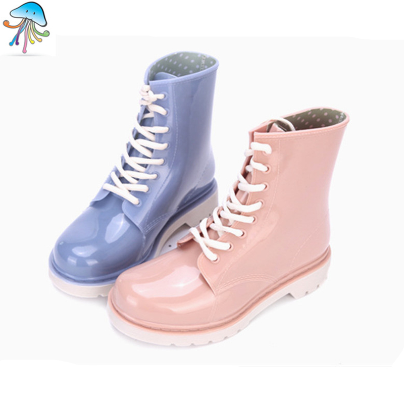 Women Boots Waterproof High Heel Ankle Rain Boots Slip on Shoes Colourful Rainboots Martin Punk style Rainshoes  <br><br>Aliexpress