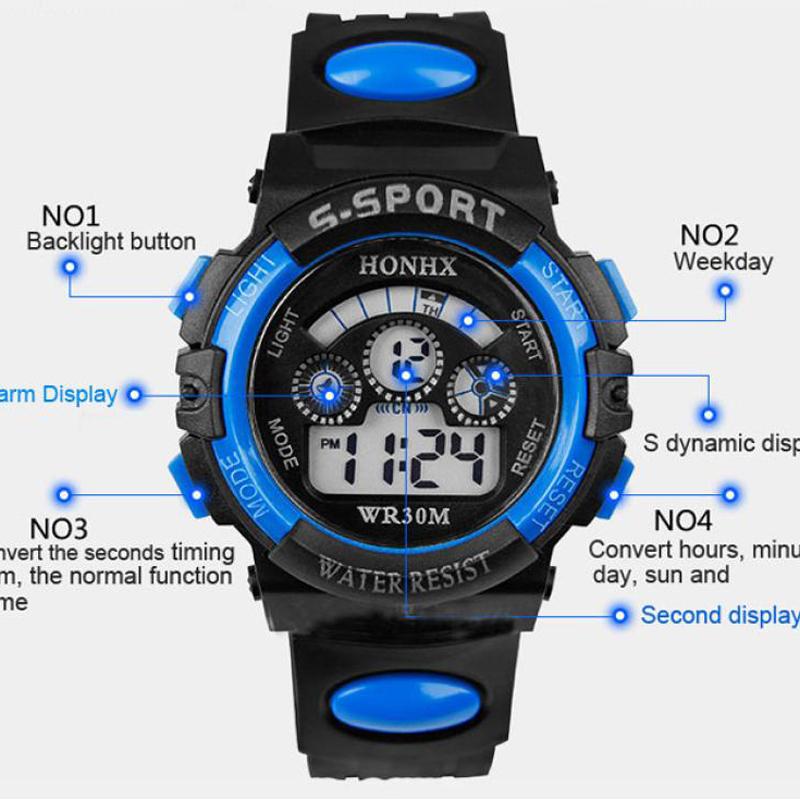 Trustworthy 2015 Hot Sale 1pcs Rain Waterproof Children Boy LED Digital Watch Alarm Date Mutifunction Sports Watch Gift(China (Mainland))