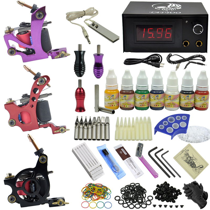 Фотография OPHIR 350pcs/set Professional Tattoo Kit 3 Dragonfly Rotary Tattoo Machine Guns with 7 colors Tattoo Ink & Grip Needles #TA078