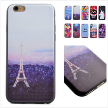 10 patterns Smiling Tower painted soft TPU Case for iPhone 6 Plus Coque Fundas Protective Back Cover mobile Phone bag
