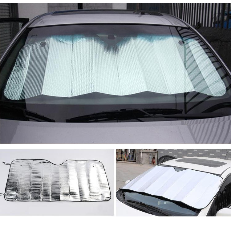 Front Windshield Car Window Foldable Sun Visor Shade Shield Sunshade Cover Accessories Silver