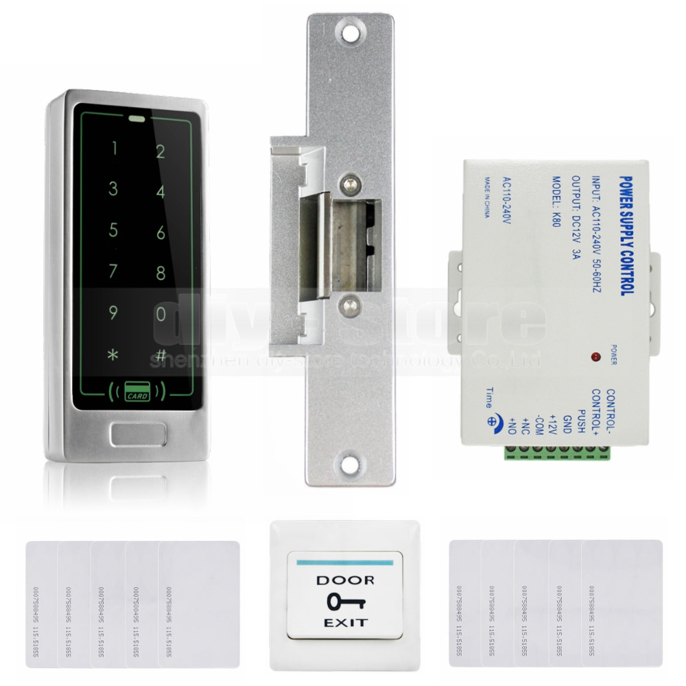 125KHz RFID Reader Metal Keypad Door Access Control Security System Kit + Electric Strike Lock(China (Mainland))