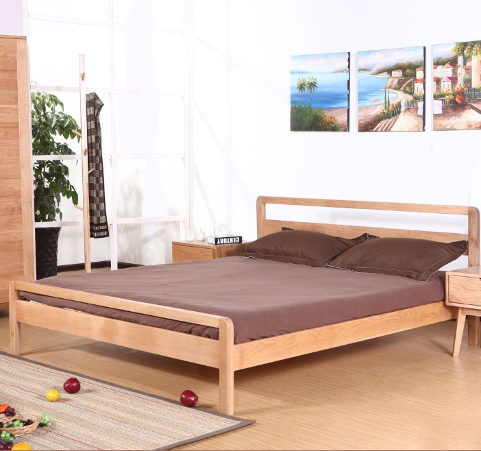 Japanese 1.5 m wood bed wood bed oak 1.8 Chinese Double Bed Double wooden bed Specials(China (Mainland))