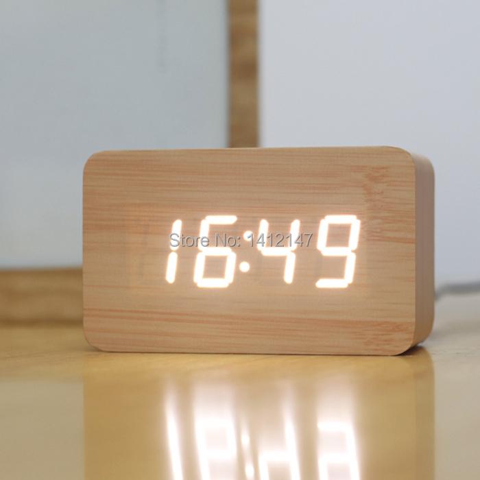 2015 Stylish desktop clock bamboo color Square shape wooden Luminous Led table clock mesa de som quiet digital electronic timer(China (Mainland))